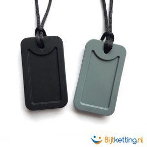 bijtketting army dog tag zwart grijs