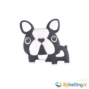 2286 bijtketting bulldog hond zwart wit
