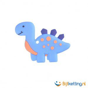 2343 bijtketting kauwketting dino dinosaurus blauw met oranje