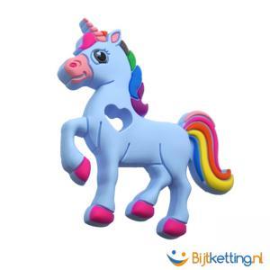 bijtketting unicorn eenhoorn blauw schuinvoor