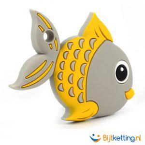 bijtketting vis cartoon grijs met geel 2