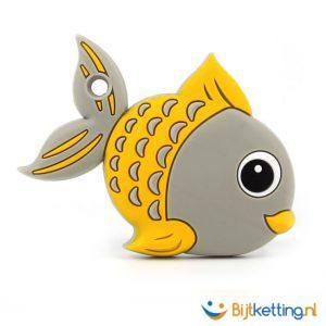 bijtketting vis cartoon grijs met geel